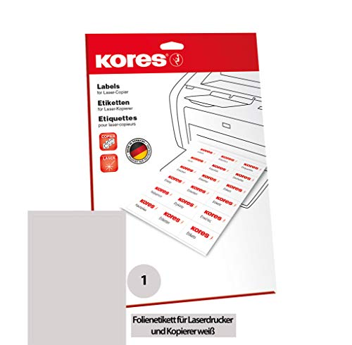 Kores Folien Etiketten weiß Laser+Kopierer DIN A4 210,0x 297,0mm 10 Blatt 10 Etiketten, reißfest, wasserfest, abwaschbar