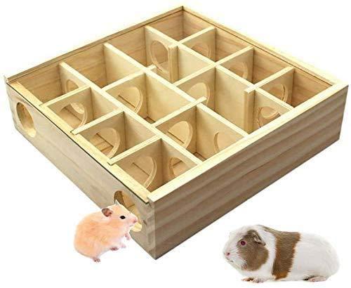 Yangwx Hamster-Labyrinth aus Holz, lustiges Spielzeug Tunnel für Kleintiere für Hamster, Mäuse, andere kleine Tiere (25 x 25 x 7 cm)