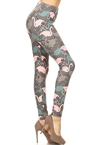 R826-EXTRAPLUS Flamingo Mode Print Fashion Leggings