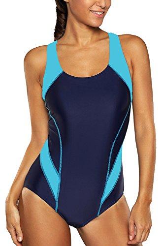 Charmleaks Damen Einteiler Figuroptimizer Racerback Sport Badeanzug Elegance Dunkelblau XL