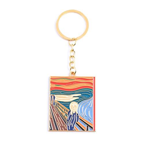 Qsdxlsd Keychain Van Gogh Oil Painting Enamel Fantasti DIY Pendant Keychain Gift Beautiful Night Abstract Art Key Toys Gift (Color : B orange)