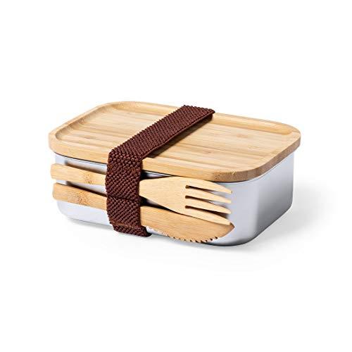 Fiambrera hermética con cubiertos, elegante fiambrera porta alimentos y cubiertos biodegradables, fiambrera de acero inoxidable con tapa hermética de bambú y set de cubiertos