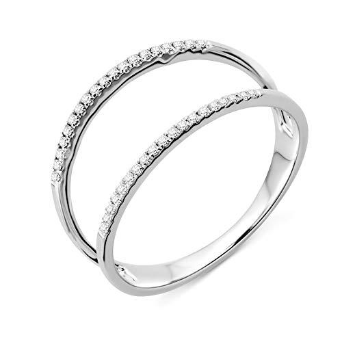 Miore Ring Damen doppelreihiger Diamant Ehering Weißgold 9 Karat / 375 Gold Diamanten Brillanten 0.10 Ct, Schmuck