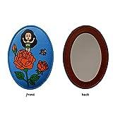 PLLP Miroir de Maquillage, Mode Rétro Cartoon Miroir Pu Ovale Petite Main Miroir de Maquillage Miroir Miroir de Maquillage Portable Girl Blue