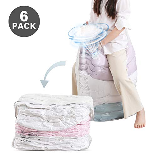 80x100x38cm Large Capacity Space Saver for Home Travel Packing Bulky Clothes Bedding Duvet Pillow Quilts Patented 2 in 1 Valve Say Goodbye to Hands Pump Cube Vacuum Storage Bags 6 Pack Jumbo