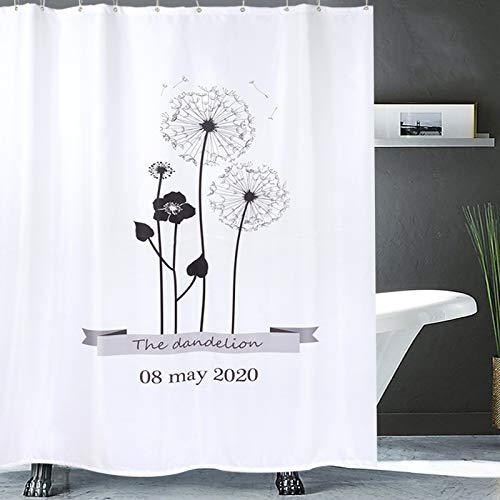 XTUK Home Decor - Tenda da doccia in tessuto Wet Room, lavabile, resistente alle farine, con occhielli anti ruggine, bianco e nero, 150cmWX180cmH