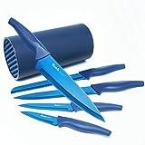 wanbasion 5 Piezas Azul Juego De Cuchillos De Cocina Profesionales, Bloque de Cuchillos Acero Inoxidable, Juego de Bloques de Cuchillos de Cocina