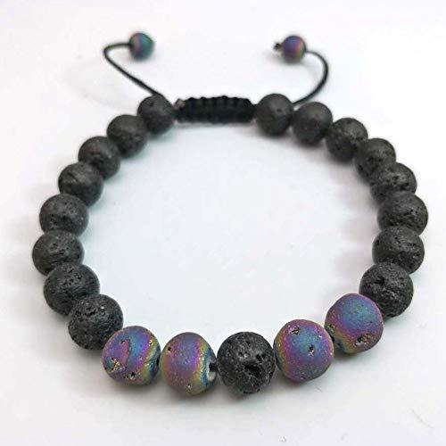 Armband van natuursteen, armband met parels van natuursteen, lavasteen, 8 mm, etnische armband met parels in zeven kleuren, elastische armband voor paren, stof