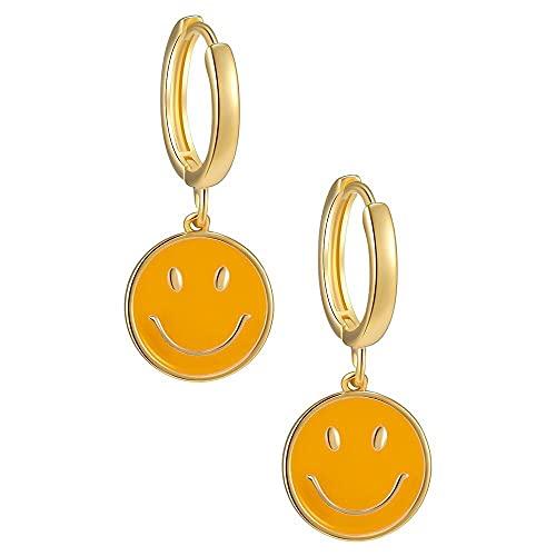 XiaoYing Pendientes de mujer para mujer, diseño de carita sonriente de cobre, estilo punk (color: A, tamaño: M)
