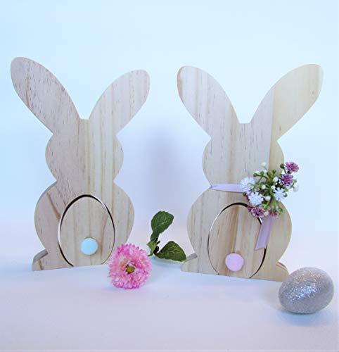 Hasenpaar Osterhasen Frau und Her Hase aus Holz Osterdekoration Frühling Holzhasen Ostertisch Geschenk Blumenstrauß Schleierkraut