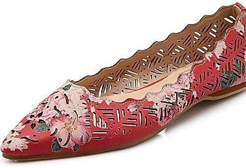 DFGBDFG PDX femme Chaussures Talon Plat Bout Pointu apparteHommests Bureau & carrière robe décontracté Vert violet rouge