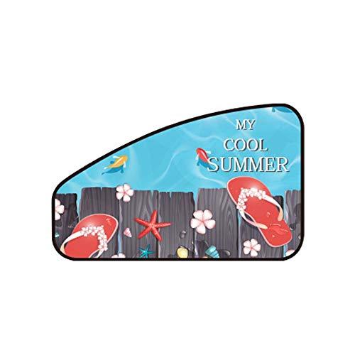 Demarkt zonwering auto raamgordijn UV-bescherming en zonwering kinderen baby auto gordijnen verduisterende gordijnen warmte-isolerend cartoon-patroon 80cm*20cm*50cm strand.
