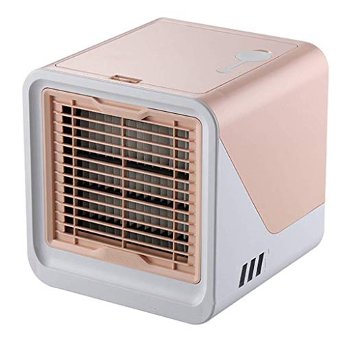 Evaporative Coolers USB Personal Air Cooler, Mini Negative Ion Air Conditioner Fan, 4-In-1 Portable Table Fan with 3 Fan Speeds, Purifier with 7 Colors LED Light,Cooling Fan for Home, Room, Office,Pin