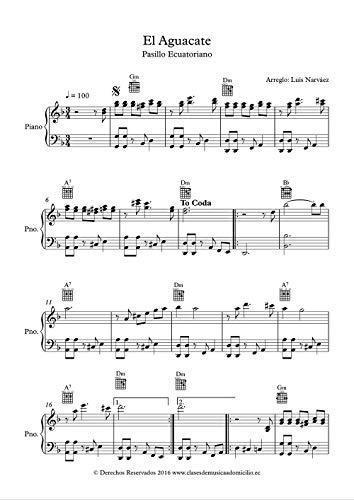 El aguacate partitura para piano, versión instrumental: Pasillo Ecuatoriano (Sheet Music for Piano 1 nº 11) (Spanish Edition)