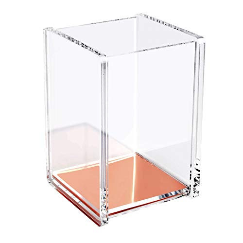 Zodaca [Deluxe Acrylic Design Soft Touch Square Pen Pencil Ruler Brush Holder Cup Desktop Stationery Makeup Organizer, Clear/Rose Gold