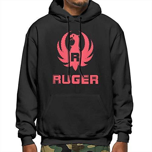 Demischo Ru-Ger Men's Fleece Hoodies Workout Thermal Sweatshirt Long-Sleeve Athletic Hooded Jacket Xx-Large Black