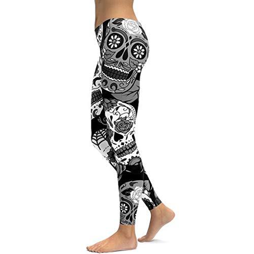 Nuofengkudu Mujer Calavera Floral Print Leggings Comodo Elasticos Mallas Fitness Deportivos Pantalones Halloween Partido Negro S