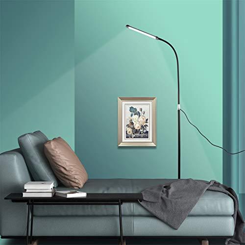 KHDJ LED Stehlampe 10W - 2-in-1 Leselampe & Stehleuchte, Touch & Remote Control, 3 Farbtemperaturen & 3 Helligkeitsstufen, Augenschutz, für Wohinzimmer, Schlafzimmer und Büro, Schwarz