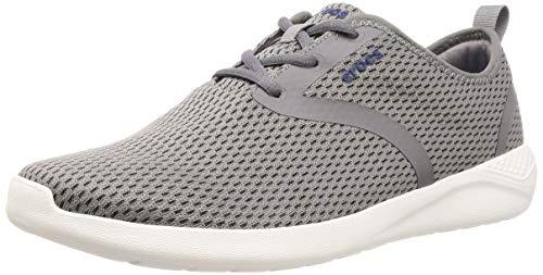 Crocs Men's LiteRide Mesh Lace Sneaker, Smoke/White, 12 M US