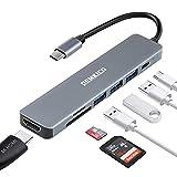 7 in 1 Multiporta USB C Hub ,DEMKICO Adattatore USB C a HDMI con 4K HDMI, lettore SD/TF, 3 porte USB, ricarica...