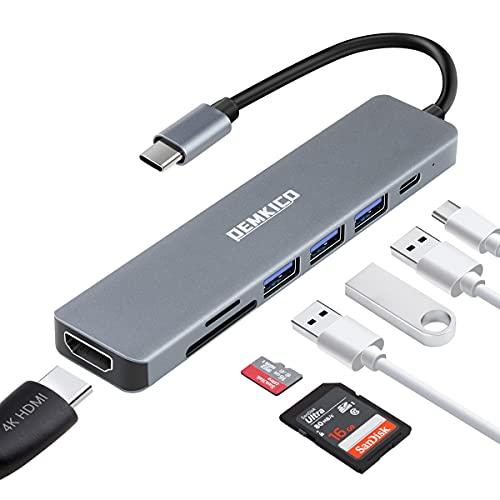 7 en 1 Hub USB C, DEMKICO Adaptador USB C a HDMI con 4K HDMI, lector de tarjetas SD/TF, 3 puertos USB, carga de alimentación de 87W compatible con MacBook Pro/Macbook Air/Dell XPS y más