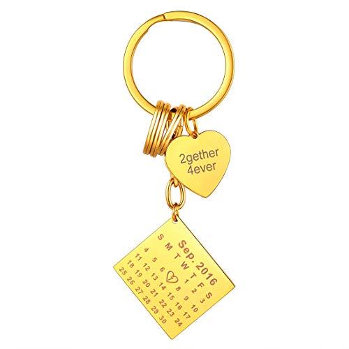 U7 Regalo parejas llaveros personalizables con tabla y corazón para decoración de llaves llaveros dorados acero inoxidable 316L para mujeres accesorios de equipaje calendarios años mes día diy