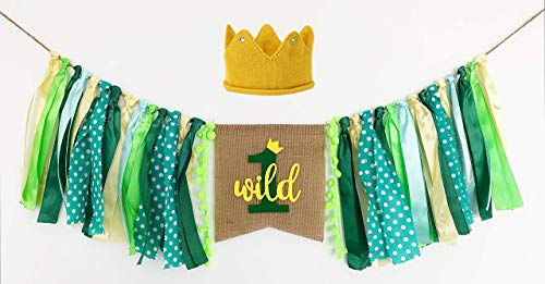 Wild One Banner, Wild One High Chair Banner with Crown, 1st Birthday Fabric Jungle Safari Theme Party Decorations for Boy Girl