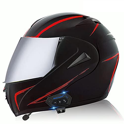 Bluetooth Flip up Doble Lente Motocross Cascos de Alto Rendimiento Hombres Racing protección Gorras Casco Moto Anti caída protección Completa Casco de Motocicleta ECE Homologado A,L