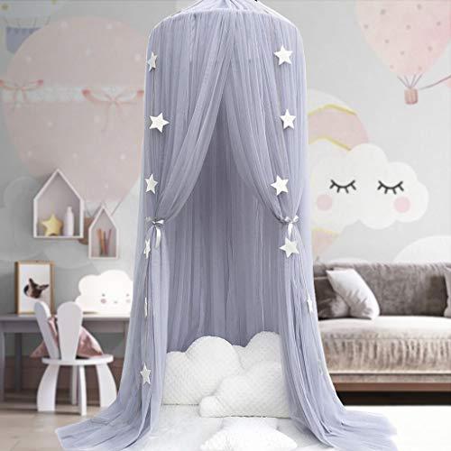 Kinder Betthimmel Babybett Baldachin Prinzessin Moskitonetz Kindergarten Spielzimmer Dekor Kuppel Premium Garn Netting Vorhänge, Grau