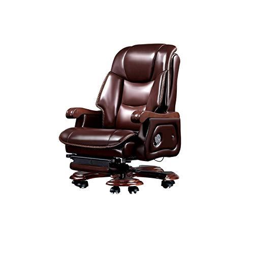 KJLY Sedia da ufficio in vacchetta a testa di testa, sedia boss, sedia girevole in legno massello, sedia da computer ergonomica, massaggio a 9 punti e poggiapiedi retrattile, marrone