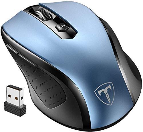 VicTsing Ratón Inalámbrico Mini, Portátil 2.4G con Receptor Nano, 6 Botones, 2400DPI, 5 dpi Adjustables (Azul)