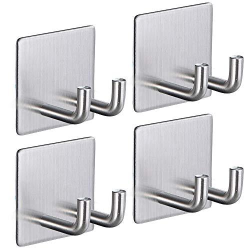 ARTORA Gancho calcomanía para la ducha, gancho de baño de acero inoxidable autoadhesivo, para llaves, utensilios de cocina, tapones, abrigos (4 unidades)