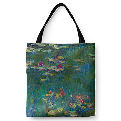 WANGNIU Bolsos de hombro con cremallera de lona ecológica para mujer con bolsillo interior Bolsos reutilizables en caja Autorretrato de Van Gogh-Mo Ni Lian_L