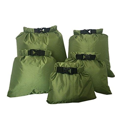 ECYC® 5pcs Rafting Canoë-Kayak Sac Sec 1.5/2.5/3.5/4.5/6 L, Poche De Stockage De Sac Sec ImperméAble à l'eau De Tissu en Nylon, Army Green