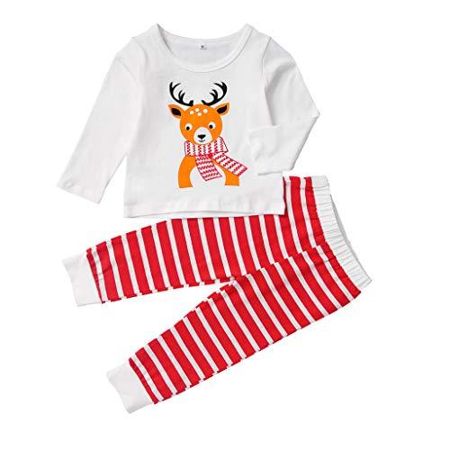 Jongens Meisjes Kerstmis Pyjama Sets, Kinderen Katoen Outfits Lange Mouw Kerst Rendier Cartoon Print Zachte Slaapmode Nachtkleding