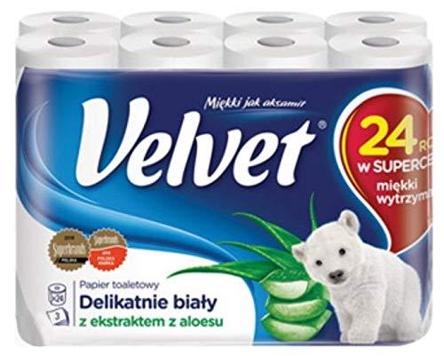 24 Rollen Velvet Aloe Duft Toilettenpapier 3-lagig 153 Blatt Zellstoff Klopapier WC
