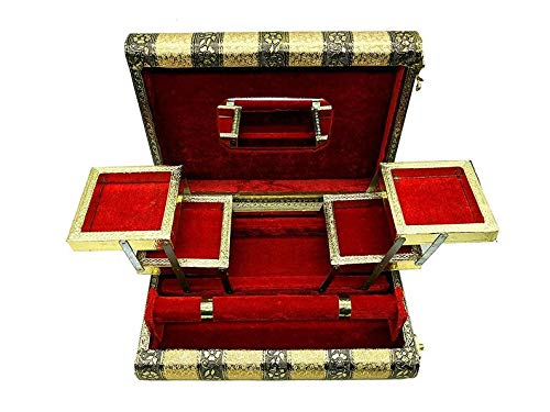 WorldOfIndianArt presenta un recuerdo hecho a mano de madera oxidada caja de joyería 1 rollo brazalete con 5 compartimentos espejo libre
