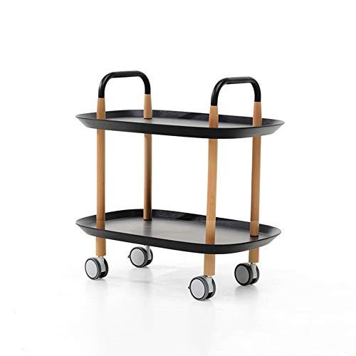 WWWANG Cocina Trolley Isla de Rolling Porción carros 2 Nivel sólido Utilidad...