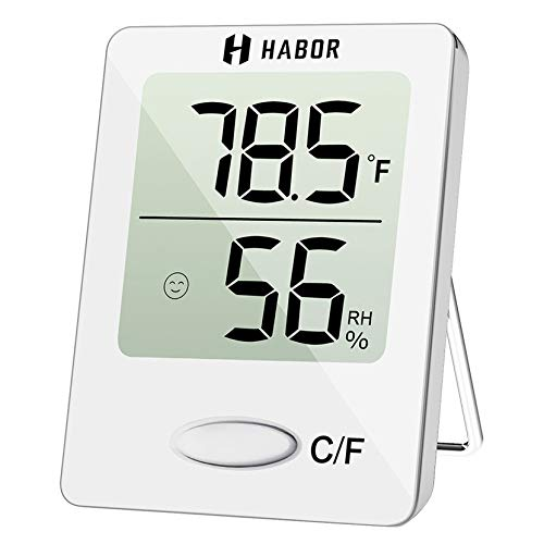 Habor Gauge Room Thermometer Indoor, Accurate Mini Wall Digital Hygrometer Temperature Humidity Monitor Meter for Home, Office, 1 pack, White