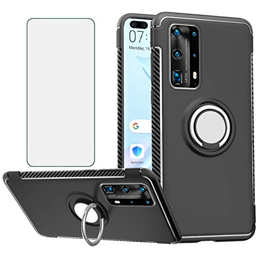 Phone Case for Huawei P40 with Tempered Glass Screen Protector Cover and Magnetic Stand Ring Holder Slim Hybrid Hard Cell Accessories Kickstand Heavy Duty Rubber Rugged Hawaii P 40 Cases Men Black