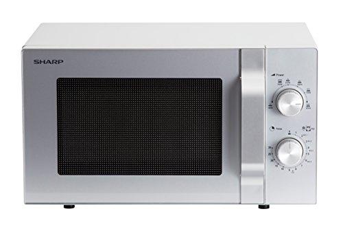 Sharp R204S Solo-Mikrowelle / 20 L / 800 W / 6 Leistungsstufen / Zeitschaltuhr von 30 Minuten bis 00 Sekunden / Gewichtgesteuertes Auftauen / Glasdrehteller (24,5 cm) / silber