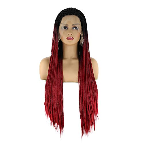 Colorfulwigs Black Ombre Burgundy Braided Synthetic Lace Front Wig for Black Women Black Ombre Wine Red 2Tone Micro Braided Box Braids Wig African American Hair (24inch, Black Ombre Burgundy)