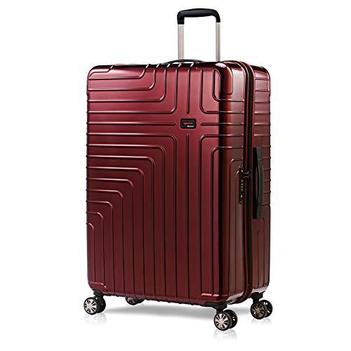 Eminent Maleta Grande Helios 77cm 114L Maleta Viaje rígida Super Ligera 4 Ruedas Dobles 360° Candado TSA Diseño Moderno Rojo