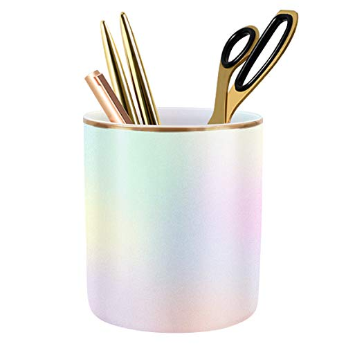 WAVEYU Cute Pen Holder for Desk, Pencil Cup Holder Desktop Stationery Makeup Brush Organizer for Teen Girls Durable Ceramic Desk Organizer Ideal Gift for Office, Classroom, Home, Colorful