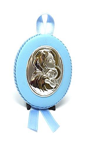 Medalla bebé | Cuna | Virgen con Niño | Plata Metodo PVD | athelier, Celeste