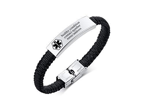 VNOX Medical Alert Emergency Jewelry-Customize Braided Nylon Rope Cuff Bangle Bracelet for Men Women