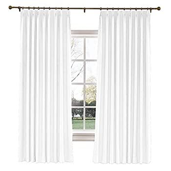 TWOPAGES 52 W x 96 L inch Pinch Pleat Darkening Drapes Faux Linen Curtains with Blackout Lining Drapery Panel for Living Room Bedroom Meetingroom Club Theater Patio Door  1 Panel ,White