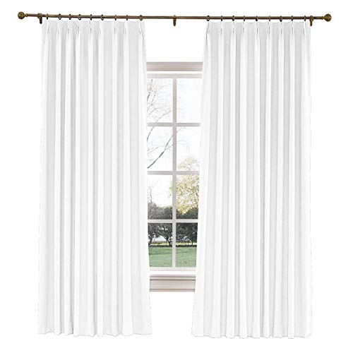 TWOPAGES 52 W x 96 L inch Pinch Pleat Darkening Drapes Faux Linen Curtains with Blackout Lining Drapery Panel for Living Room Bedroom Meetingroom Club Theater Patio Door (1 Panel),White