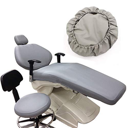 BIUYYY Grau Elastische wasserdichte Schutzhülle PU-Leder Dental Stuhl Sitzbezug Kopfstütze Rückenlehne Schutz Zahnarzt Ausrüstung,4 Teile/Satz