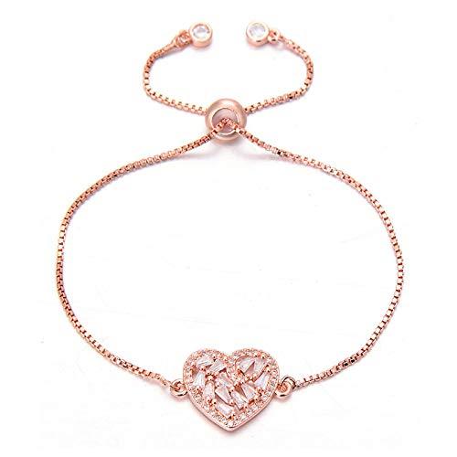 Pulseras Brazalete Pulseras De Corazón con Encanto De Circón Completo Brillante Romántico para Mujer Pulsera De Boda De Cadena Ajustable Regalo De San Valentín Oro Rosa